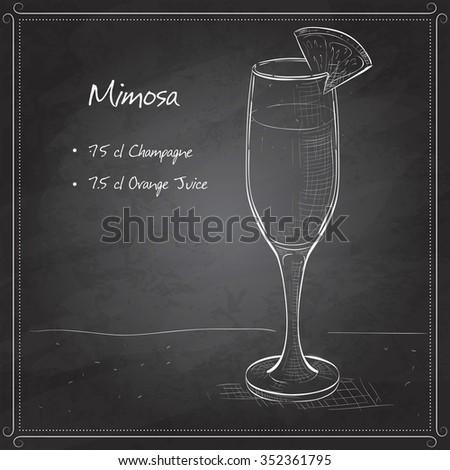 Cocktail alcohol Mimosa with Champagne, orange juice, orange on black board - stock photo