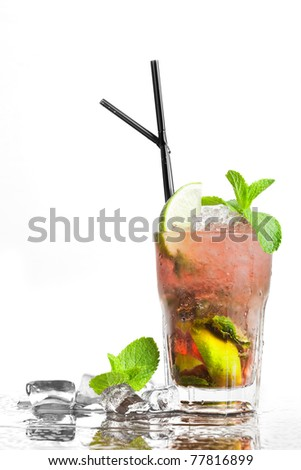 cocktail and ice - stock photo