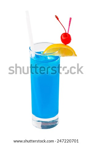 Cocktail Blue Hawaiian on a white isolated background - stock photo