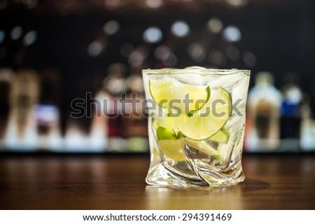 Cocktail, caipirinha, gin. - stock photo