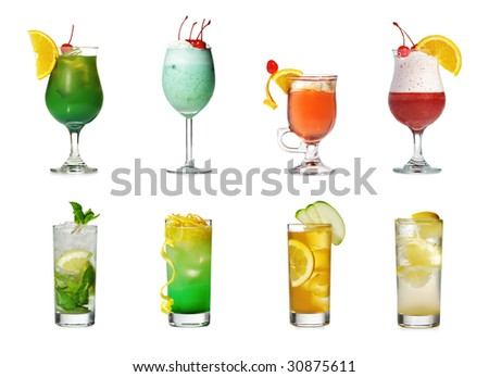 Cocktail Collection Isolated over White - stock photo