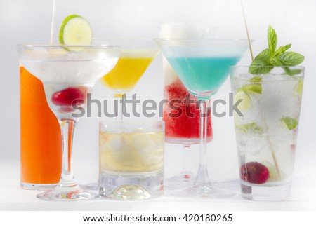 cocktail collection on white background - stock photo