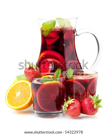 Cocktail collection - Refreshing fruit sangria in jug and two glasses. Isolated on white - stock photo