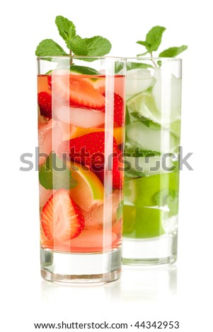Cocktail collection: Strawberry and classic mojito isolated on white background - stock photo