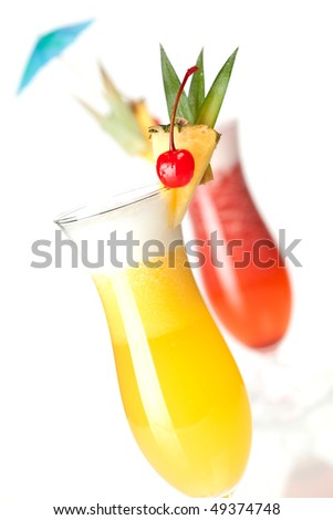 Cocktail collection: Strawberry and Classic Pina Colada isolated on white background - stock photo