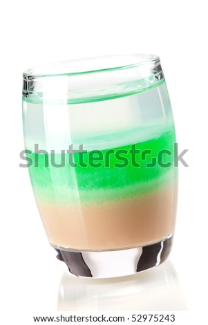 Cocktail collection: Three layered shot. Isolated on white background - stock photo