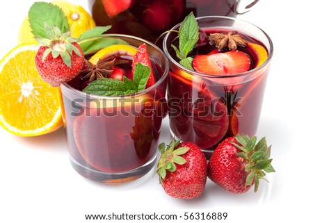 Cocktail collection - Two glasses of fresh fruit sangria. Closeup, isolated on white - stock photo