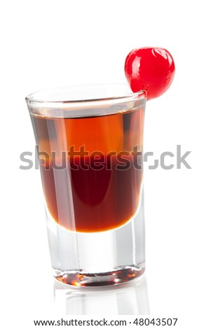 Cocktail collection: Two layered shot with maraschino. Isolated on white background - stock photo