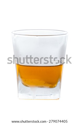 Cocktail containing whiskey and whiskey liqueur with honey. - stock photo