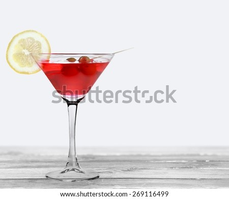 Cocktail. Cosmopolitan Isolated on White - stock photo