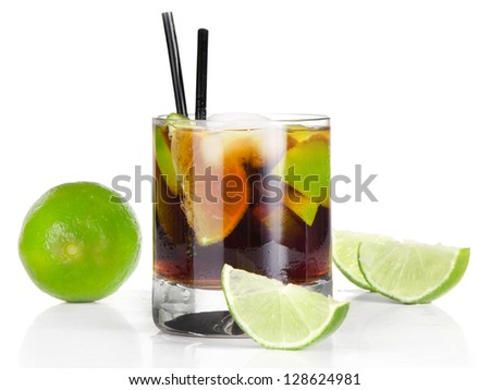 Cocktail Cuba Libre isolated on white background - stock photo
