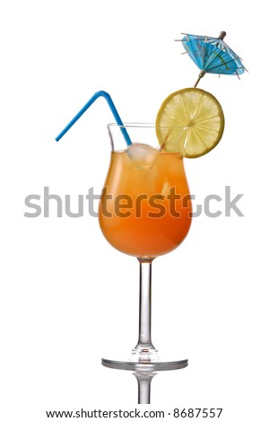 Cocktail drink isolated against white background - stock photo