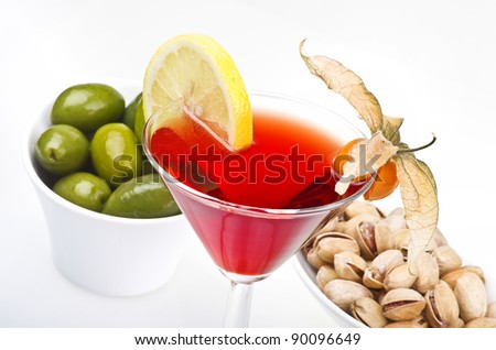 cocktail drink  on a white - stock photo