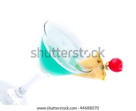 Cocktail drink on fruit/ isolated - stock photo