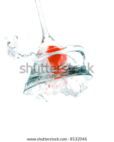 cocktail drink with an cherry splash - stock photo