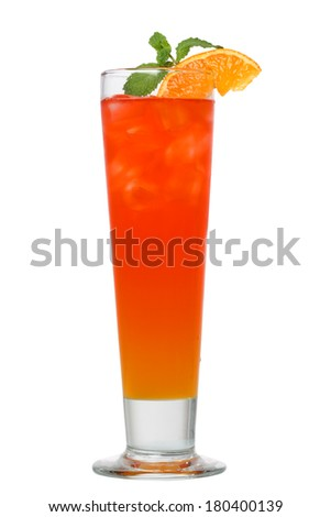Cocktail drink with orange and mint cutout, isolated on white background - stock photo