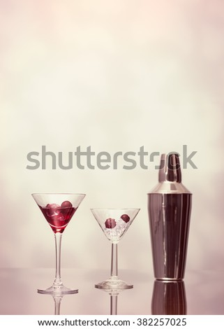 Cocktail drinks served at the bar, plenty of copy space - stock photo