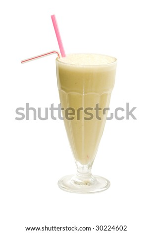 Cocktail from milk and fruit with two straws - stock photo