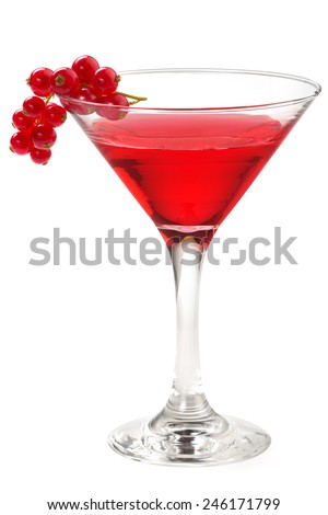 cocktail garnished with red currant isolated on white - stock photo