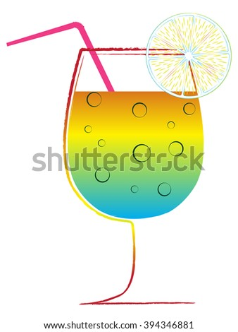 cocktail glass against white background, abstract art illustration