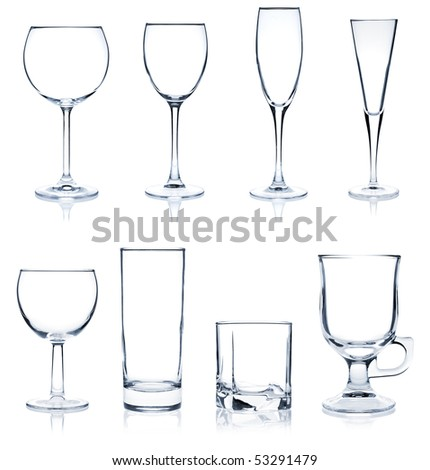 Cocktail Glass Collection - Most popular cocktail and wine glasses. Isolated on white background - stock photo