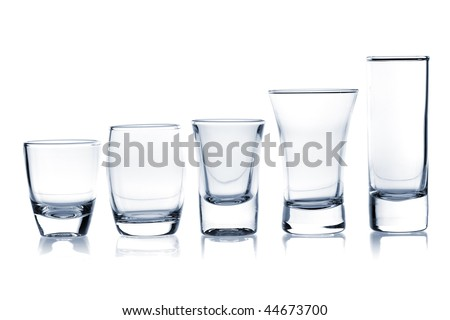 Cocktail Glass Collection - Shots. Isolated on white background - stock photo