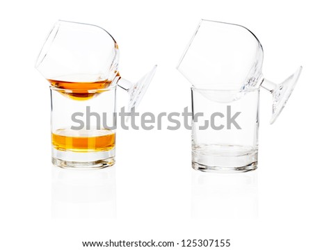 Cocktail glass set. Cognac brandy glass isolated on white background