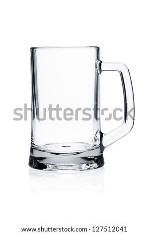 Cocktail glass set. Empty beer mug isolated on white background - stock photo