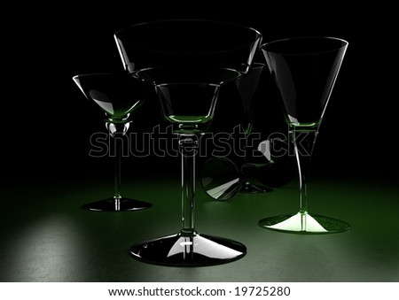 cocktail, glass, transparent, martini, green, shadow,  dark