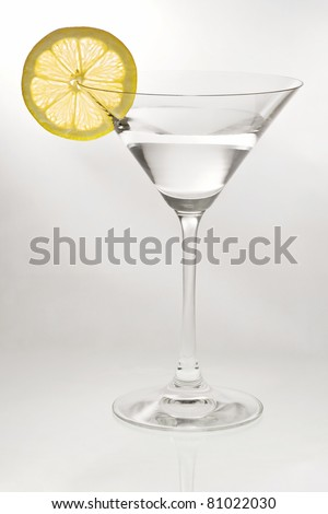 Cocktail glass with a lemon slice