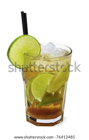 Cocktail glass with caipirinha isolated over white - stock photo