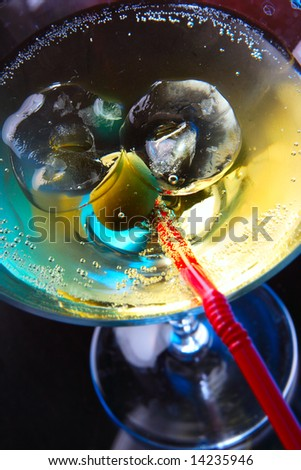 Cocktail glass with ice close-up viev from above - stock photo