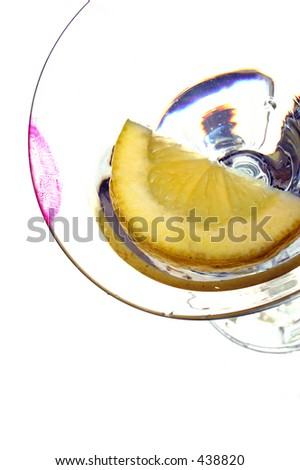 Cocktail glass with lipstick - stock photo