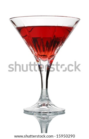 Cocktail glass with red juice isolated against white background - stock photo