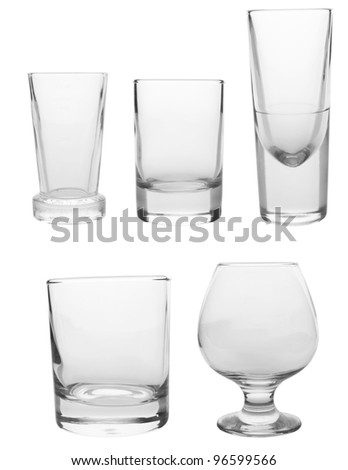 Cocktail Glasses collection - Shots isolated on white background - stock photo