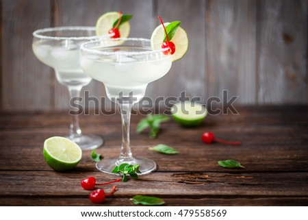 Cocktail Glasses with cherry and Mint