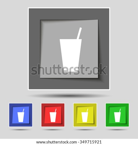 cocktail icon sign on original five colored buttons. illustration