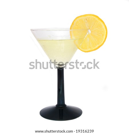 Cocktail in cocktail glass with slice of lemon