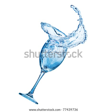 cocktail in glass with water splash - stock photo