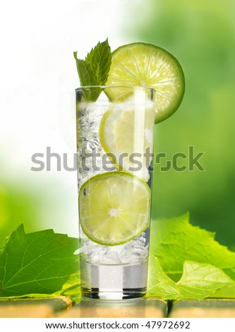 cocktail in the garden - stock photo