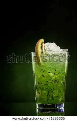 cocktail Island Bliss on a green gradient - stock photo