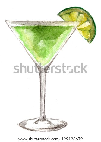 cocktail isolated on white background - stock photo