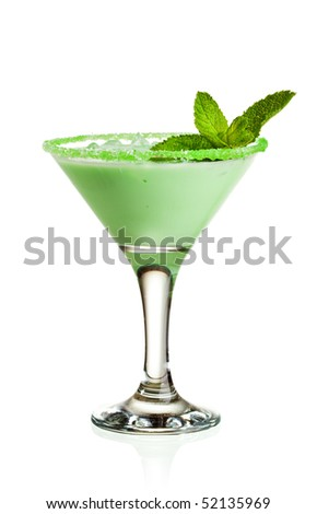 Cocktail Midori Cream with Liquer and Mint