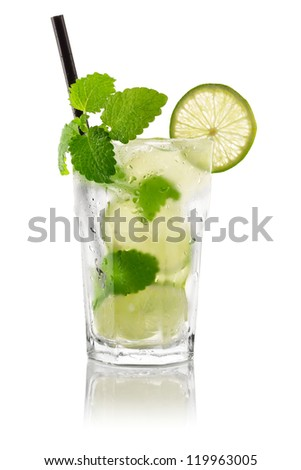 Cocktail mojito in front of white background - stock photo