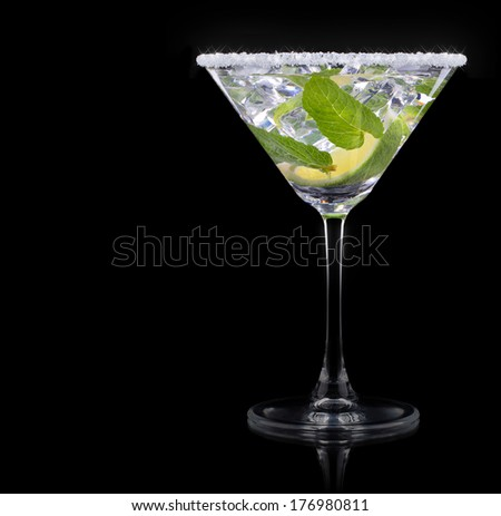 Cocktail mojito on a black party background