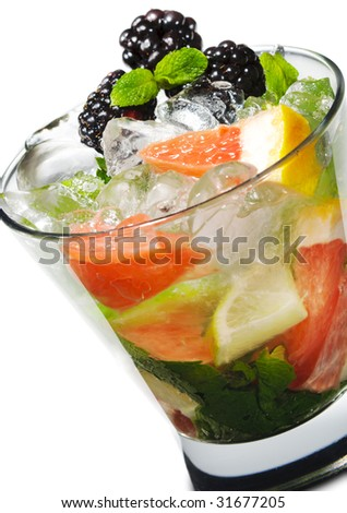 Cocktail - Mojito with Fresh Berry and Grapefruit Slice - stock photo
