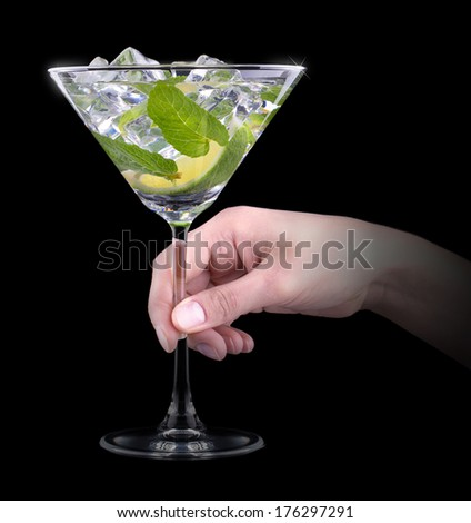 Cocktail mojito with hand making toast on black party background