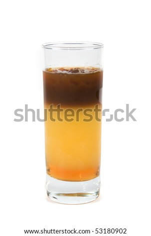cocktail of espresso, orange juice and caramel syrup - stock photo
