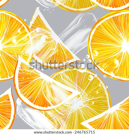 cocktail of fresh oranges - digital seamless pattern with oranges, bubbles, ice  - stock photo