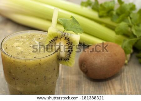 Cocktail of kiwi, celery, parsley, cilantro with green tea. - stock ...